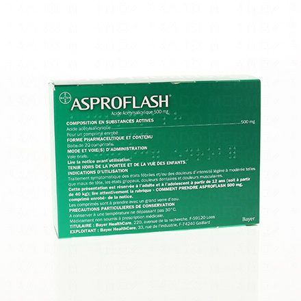 Aspro flash 500mg 20 comprimés enrobés - Illustration n°3