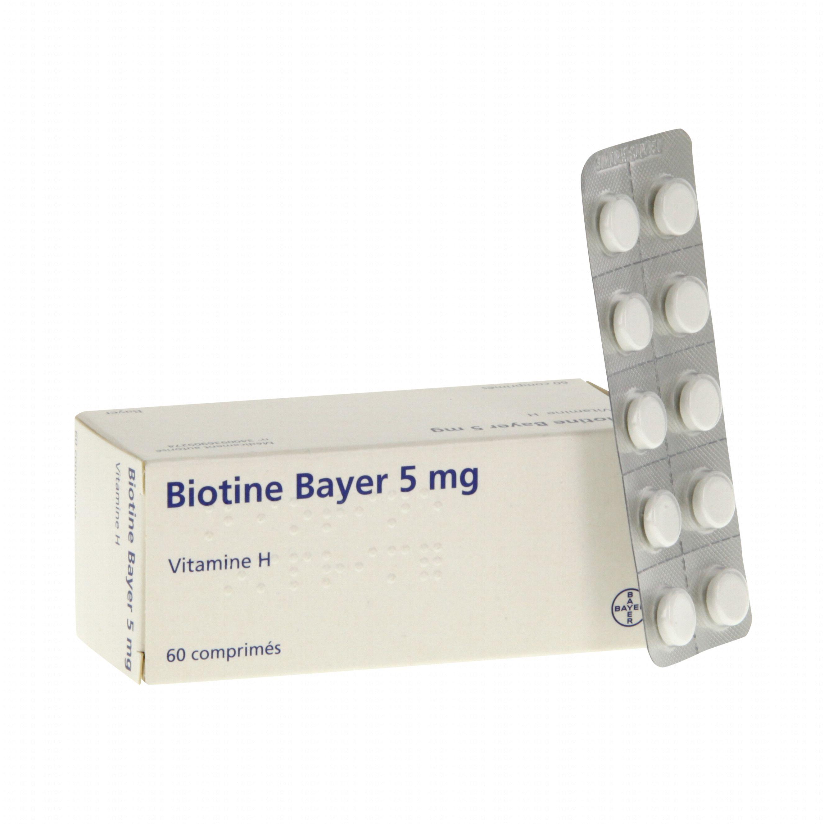 Biotine bayer 5 mg boîte de 60 comprimés (médicament