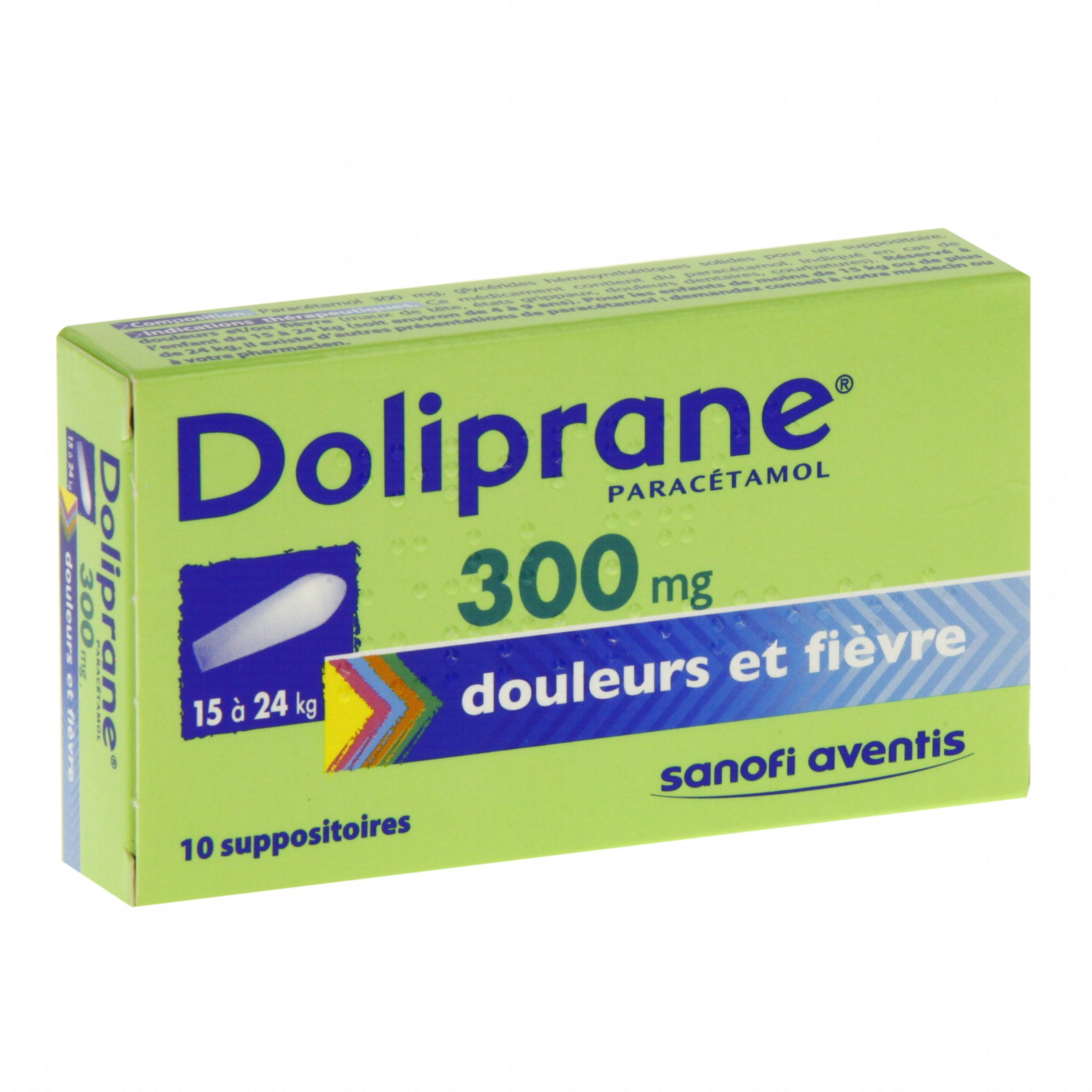 doliprane 300 mg bo te de 10 suppositoires sanofi aventis m dicament conseil pharmacie en. Black Bedroom Furniture Sets. Home Design Ideas