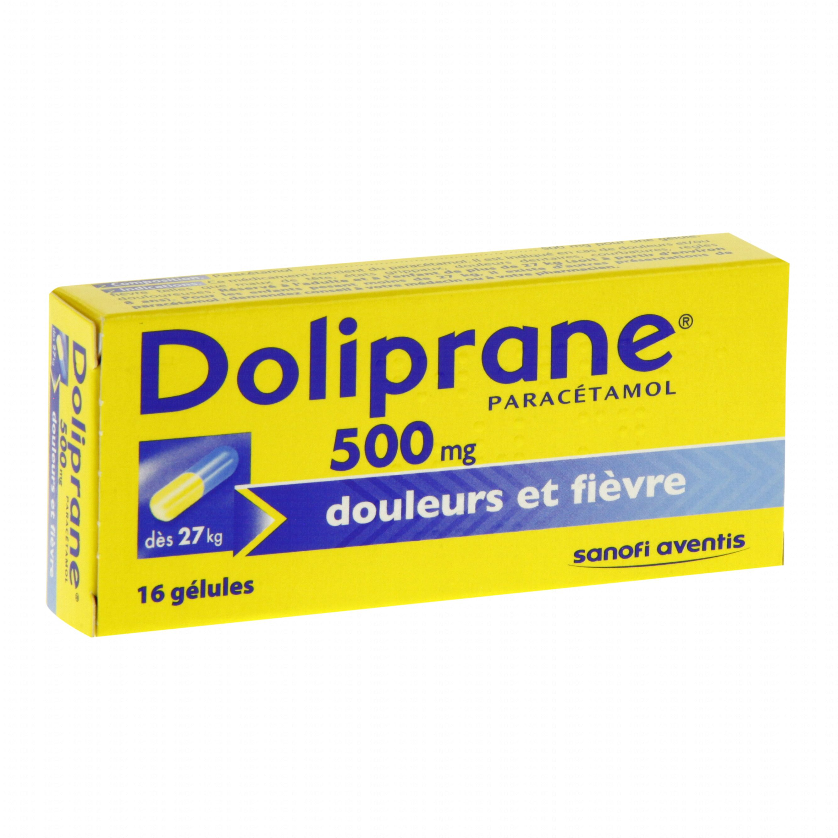 doliprane 500 mg bo te de 16 g lules sanofi aventis m dicament conseil pharmacie en ligne. Black Bedroom Furniture Sets. Home Design Ideas