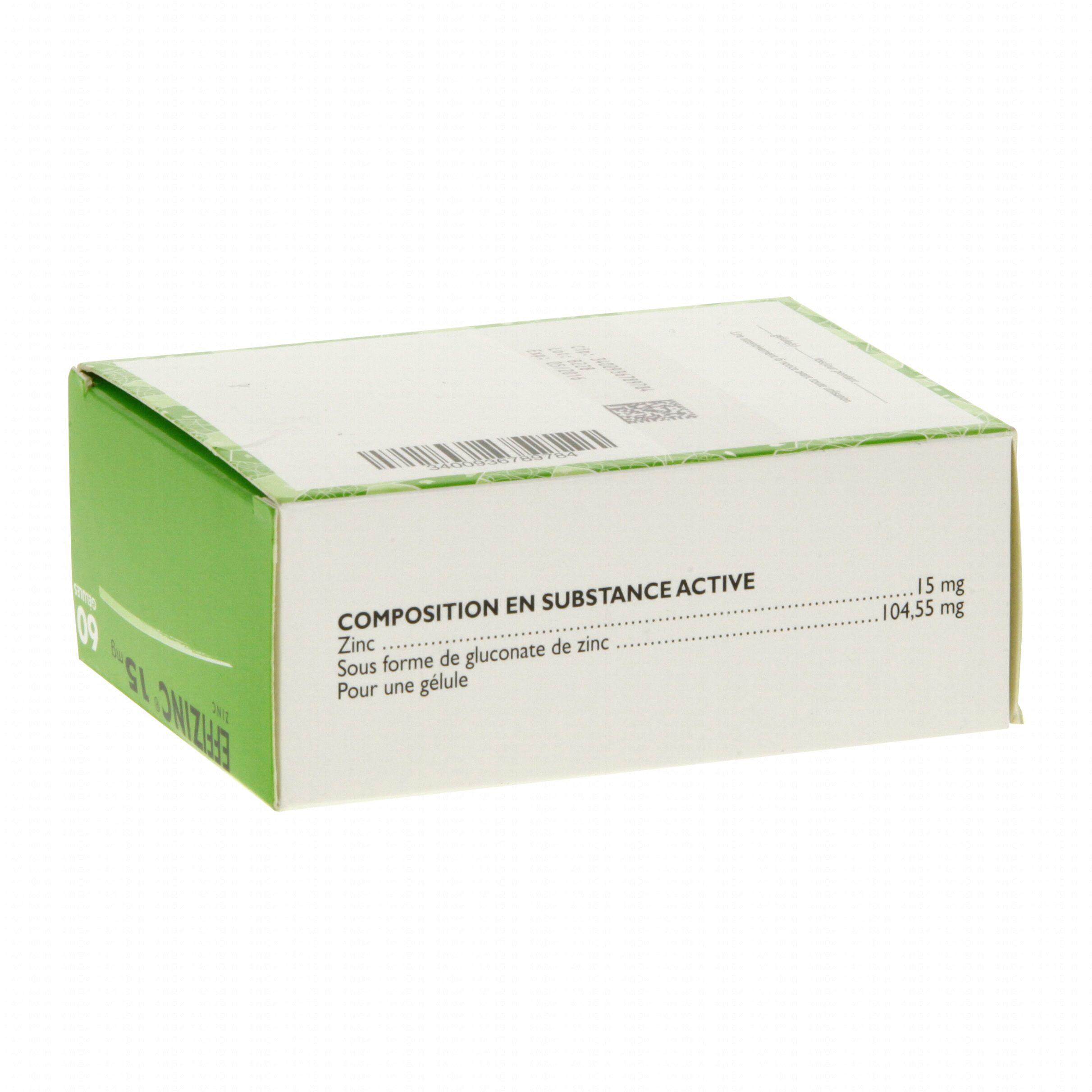 Effizinc 15 mg boîte de 60 gélules Expanscience