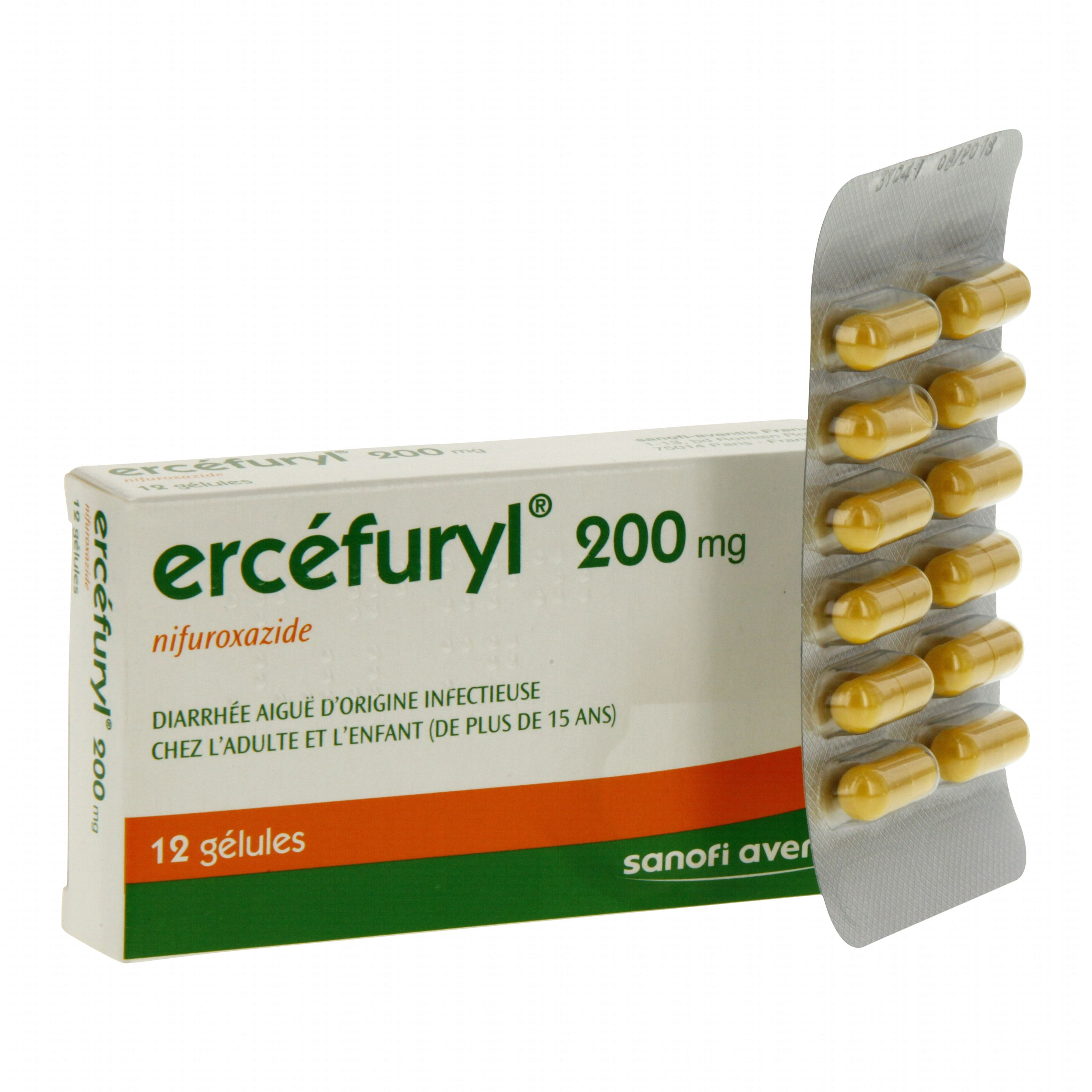 Ercefuryl 200 mg boîte de 12 gélules Sanofi Aventis