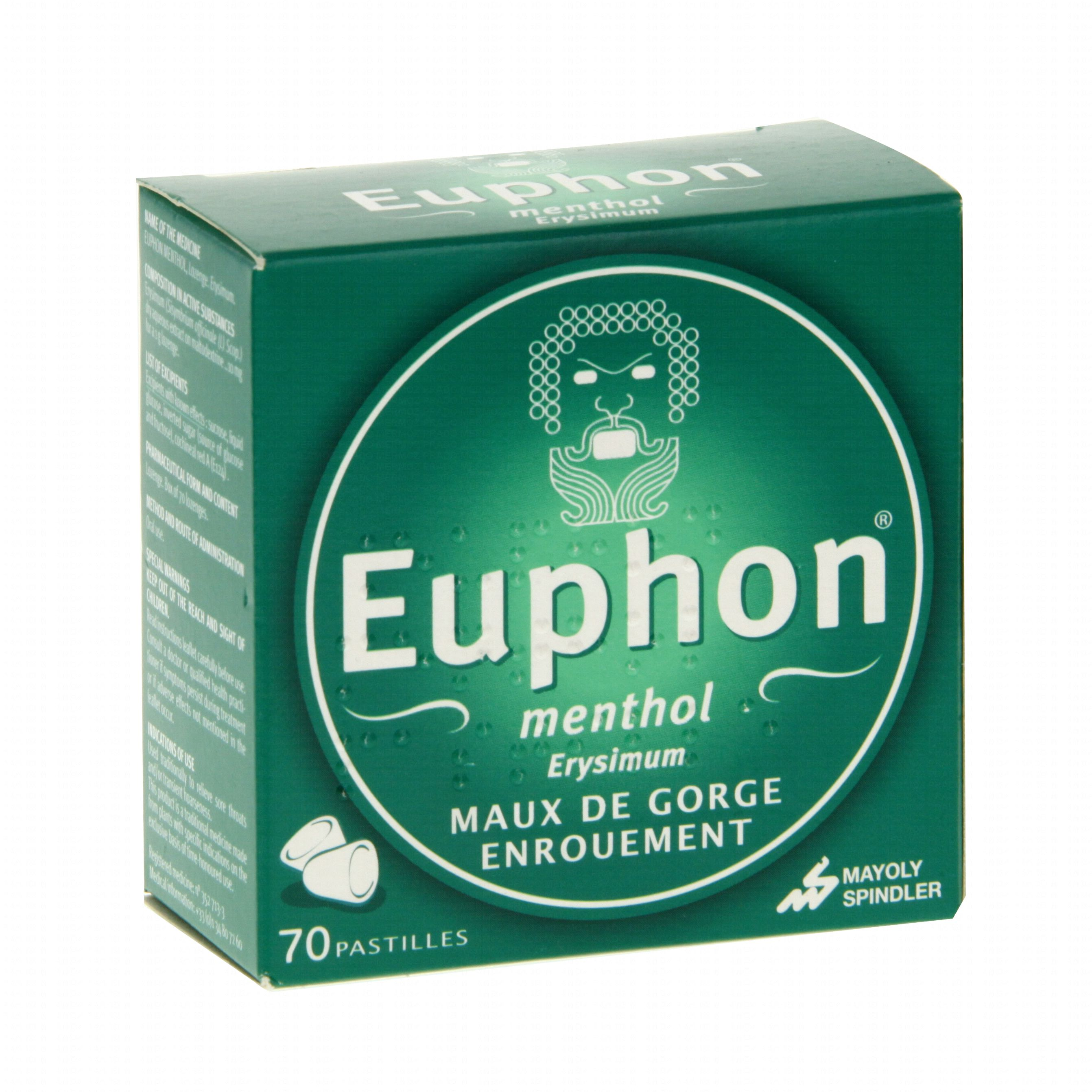 Euphon menthol boîte de 70 pastilles Mayoly-spindler
