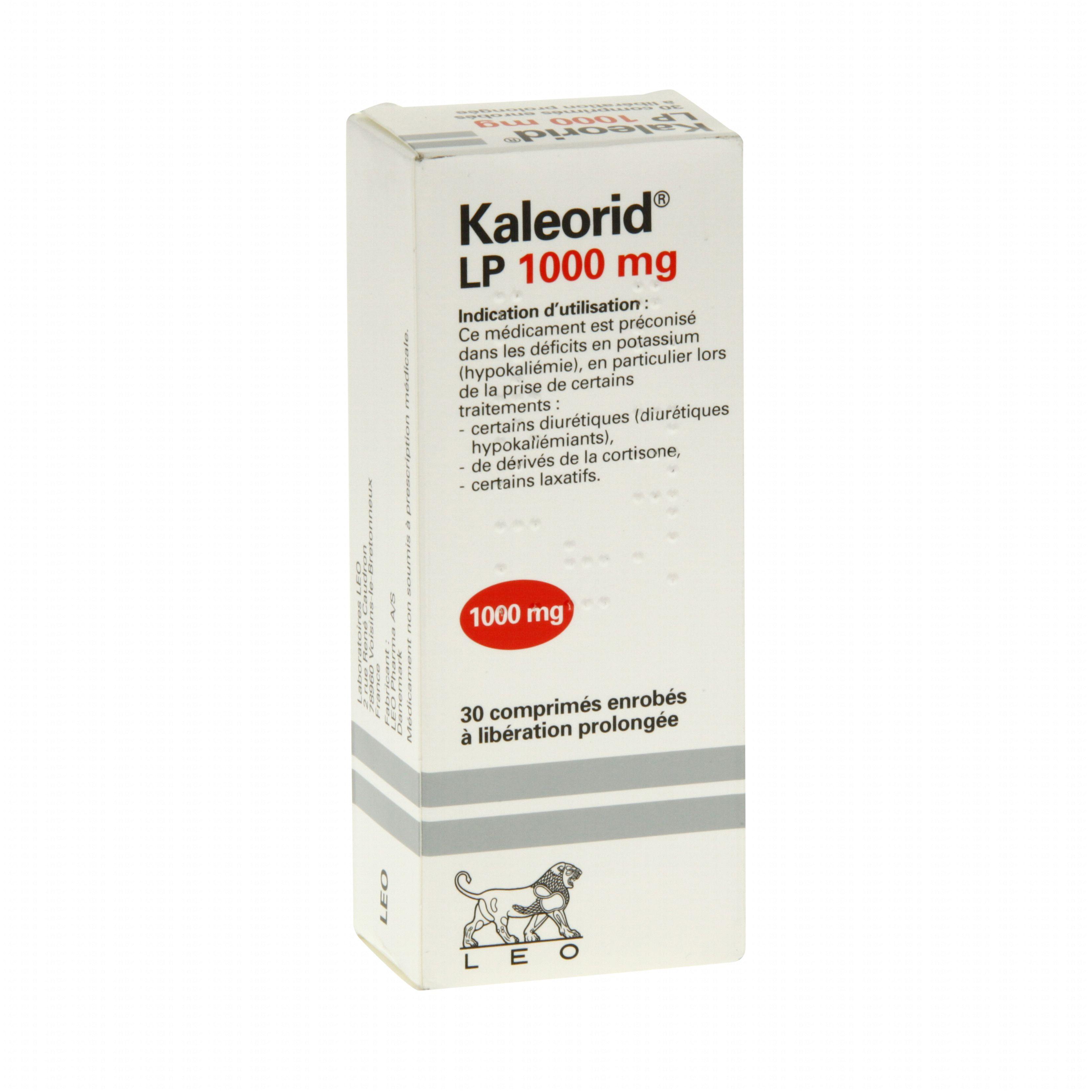Kaleorid lp 1000 mg boite de 30 comprimés Leo Pharma
