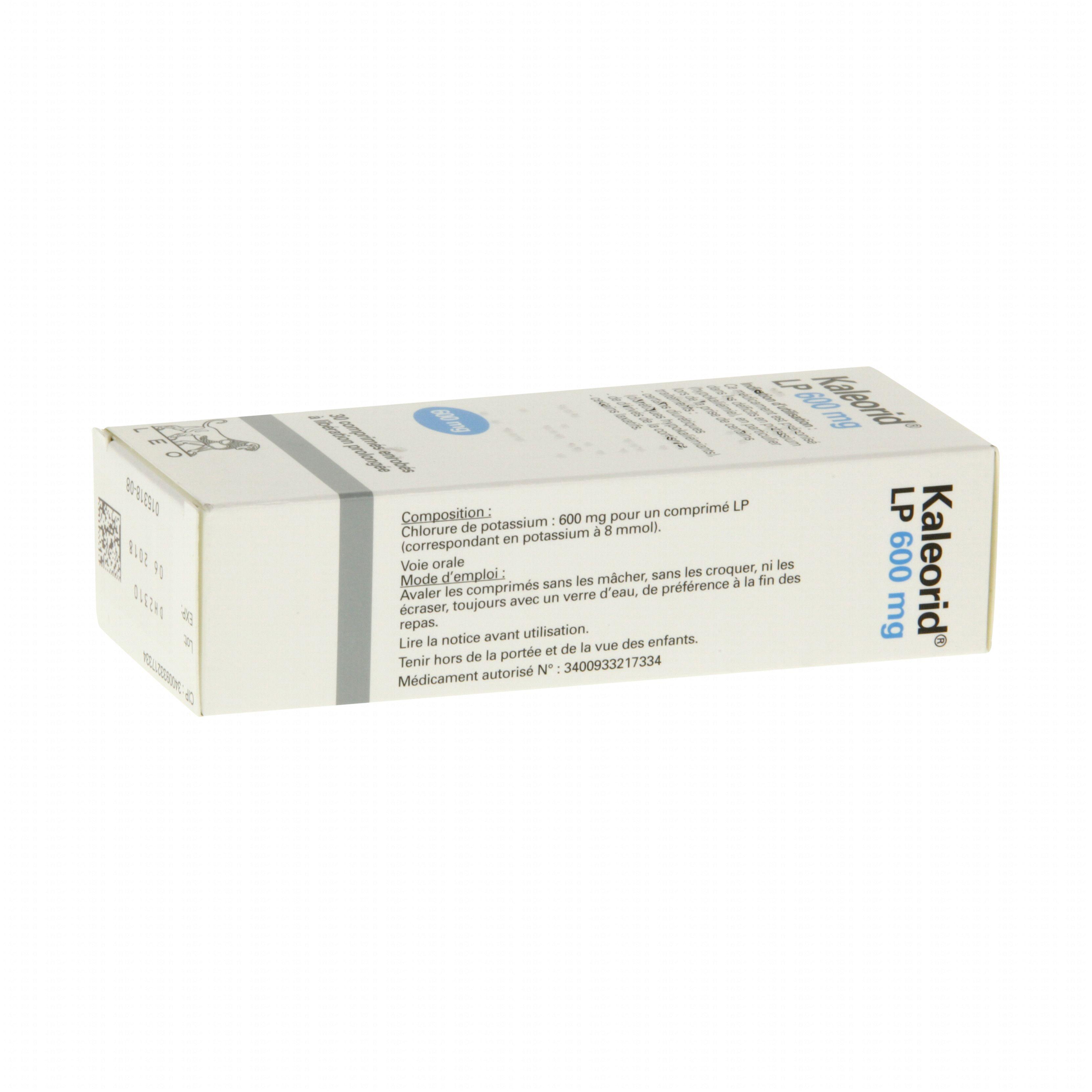 Kaleorid lp 600 mg boite de 30 comprimés Leo Pharma