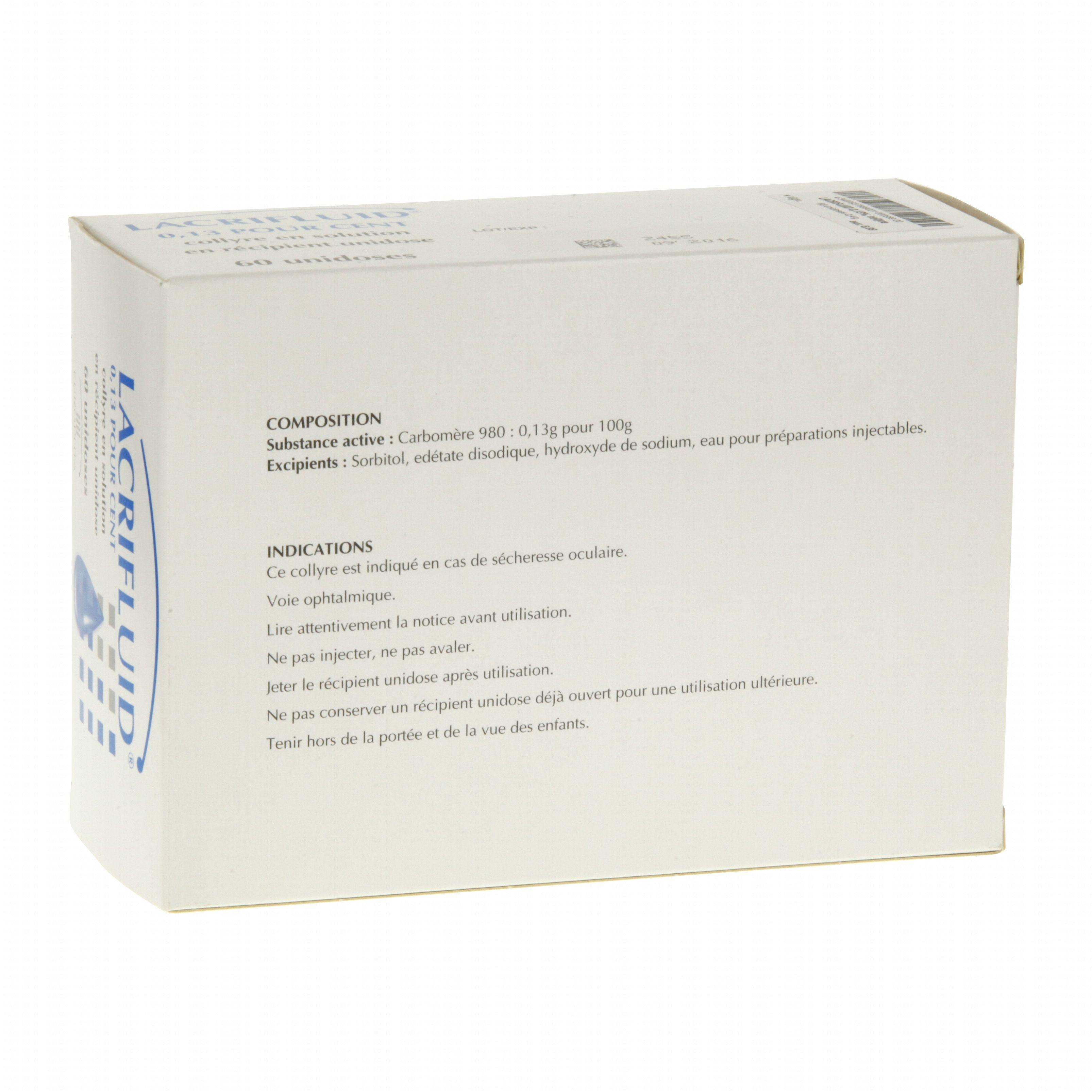 Lacrifluid 0,13 pour cent boîte de 60 récipients unidoses ...