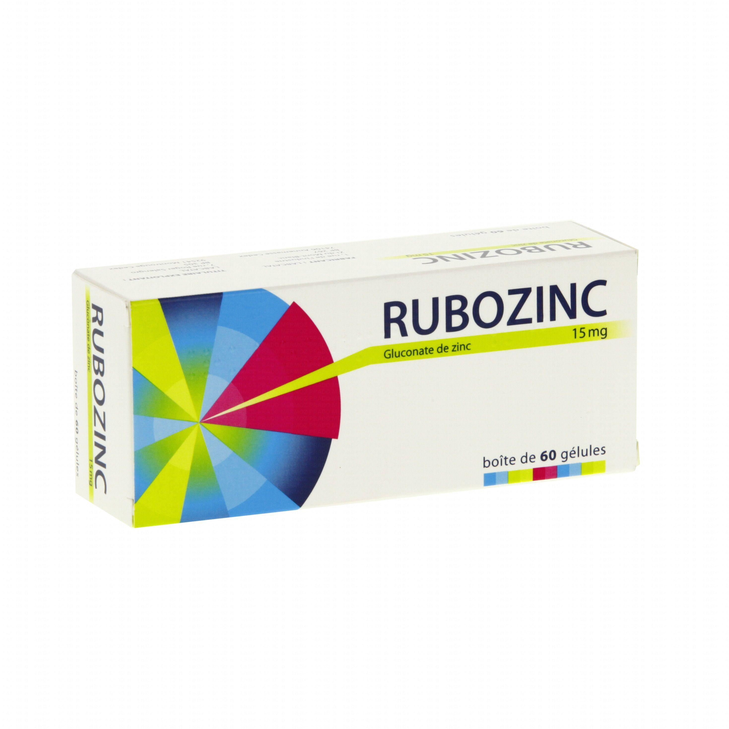 Rubozinc 15 mg boîte de 60 gélules Labcatal (médicament