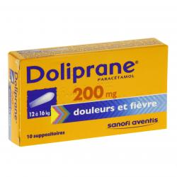 Doliprane 200 mg boîte de 10 suppositoires