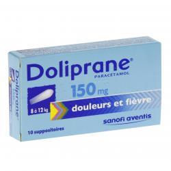 Doliprane 150 mg boîte de 10 suppositoires