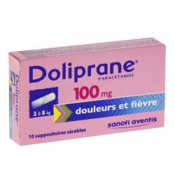 Doliprane 100 mg boîte de 10 suppositoires