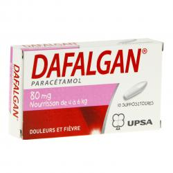 Dafalgan 80 mg boîte de 10 suppositoires