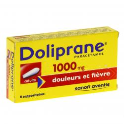 Doliprane adultes 1000 mg boîte de 8 suppositoires