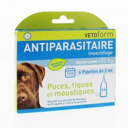 VETOFORM Insectifuge/Antiparasitaire grand chien pipettes 6x2ml